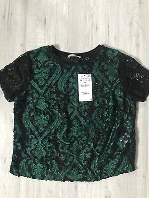 a612ccf1100 ZARA WOMAN DARK Green Lace Top Size M New With Tags - $21.85 | PicClick