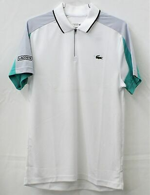 NWT Lacoste Sports Men/'s  Ultra Dry Fit Tennis Polo size 7//XXL White//green//red