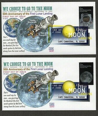 2019-50Th Anniversary Moon Landing~Dcp Cancel Glen Cachet 2 First Day Covers #2