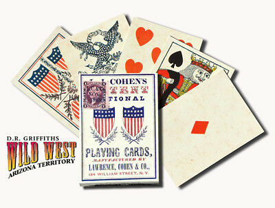 Playing Cards 1863 L.I. Cohen National Poker/Faro Replica Deck Old West