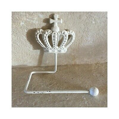 "SHABBY CHIC* 7x6"" TOILET ROLL/TOWEL HOLDER Off-White CROWN DESIGN Wall Mounted"