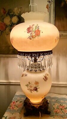Antique Vtg Victorian Gone With The Wind Gwtw Parlor Lamp Hand Painted 3 way