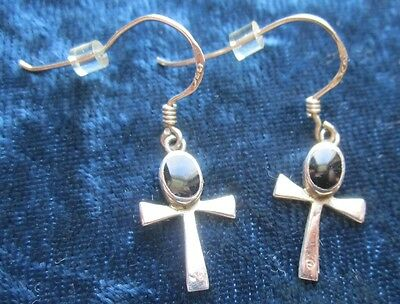 Pair of Sterling Silver Hand Made Egyptian Ankh Earrings Circa 1960