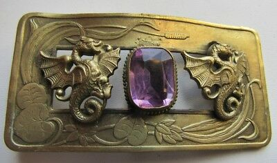 Antique Brass Buckle With Large Amethyst Stone and Two Dragons