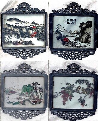 Double Dragons Atop 4 Glass Reverse Paintings   Signed ?