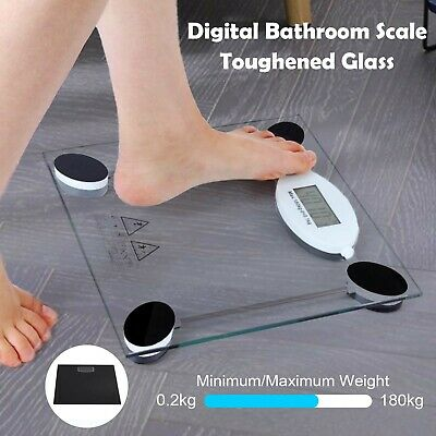 180Kg Digital Electronic Glass Lcd Weighing Body Scales Bathroom Lose Fat New