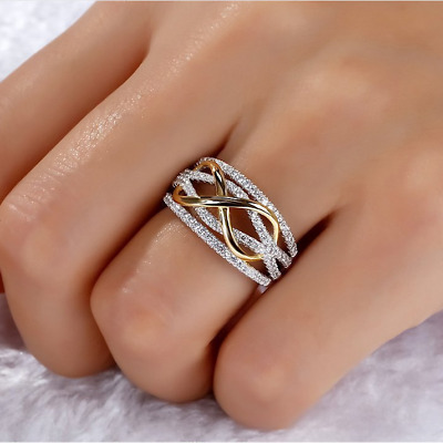 Fashion Women Infinite CZ 925 Silver Gold Two Tone Ring Wedding Party Jewelry