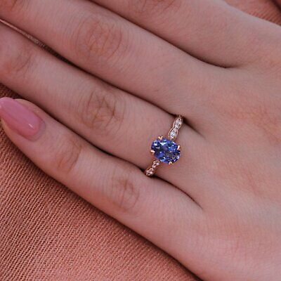 1Ct Oval Cut Blue Sapphire Solitaire Engagement Ring Solid 14K Rose Gold Finish
