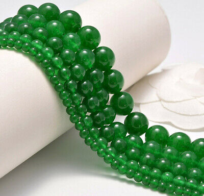 "Natural Malay Green Jade Smooth Round Loose Beads 15"" 4mm 6mm 8mm 10mm 12mm"