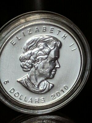 2010  $5 Canadian maple leaf 1 ounce .9999 fine silver , uncirculated