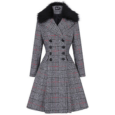 Hell Bunny Pascale Red Black Checked Faux Fur Vintage Retro 1950s Style Coat