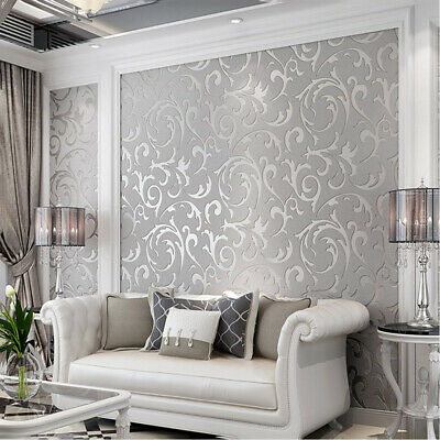 3D Victorian Damask Embossed Wallpaper Rolls Feature TV Background Decor Qr