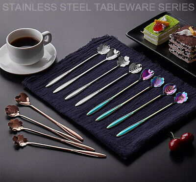 Petal Rainbow Stainless Steel Tea Coffee Spoon Ice Cream Tableware Kitchen 7inch