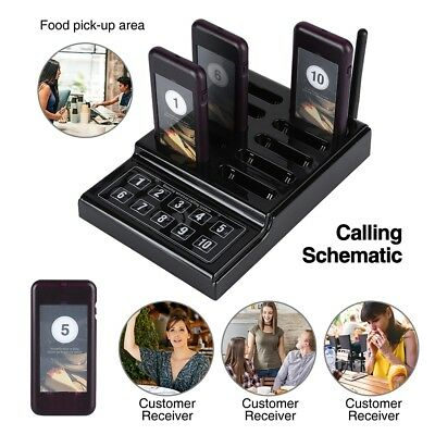Restaurant Wireless Calling Paging Queuing System 1* Keypad Button +10pcs Pagers