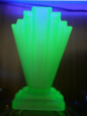 """Art Deco Bagley Uranium Green Frosted Glass Large Tall 8"""" Posy Vase Grantham 334"""