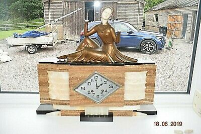 Art Deco Menneville  French Marble  Mantel Clock Signed