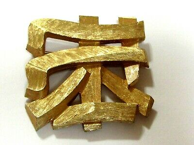 Vintage Napier Brushed Gold Tone Asian Character Brooch Pin