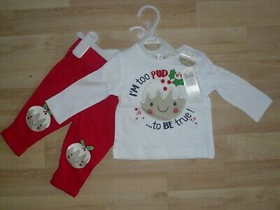 BNWT M & Co Baby Girls My First Christmas Top & Trousers Outfit ~ Age 0-3 Months