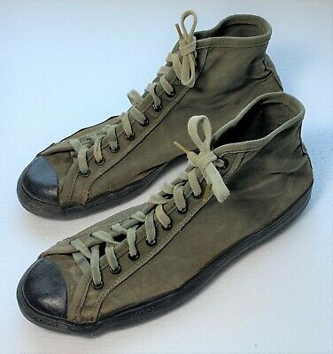 Original WWII US Army USMC Canvas & Rubber PT Jungle Shoes Dated 1945