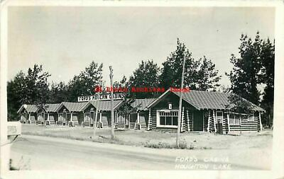 MI, Houghton Lake, Michigan, RPPC, Ford's Cabins & Office, Exterior Scene