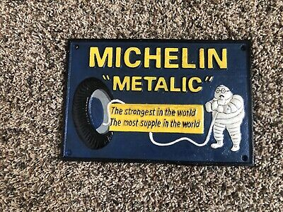 "MICHELIN ""Metalic"" Tires Bibendum London, 1938 Cast Iron Sign"