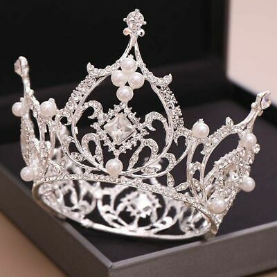 Luxury Large Full Circle Rhinestones Queen Princess Tiara Crown Bride Headpiece