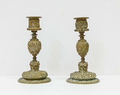 A Pair of Bronze Candlesticks, 17th century