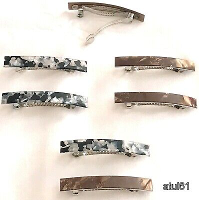 2 Small Barrette French Clips Slide Marble Texture Hair Clip Accessories New