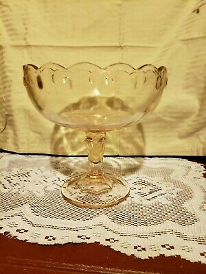 Pink Depression Indiana Glass Teardrop Scalloped Footed Compote Fruit Bowl