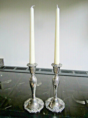 Old Pair Antique Victorian Style Silver Plated Candlesticks Candleholders c1970