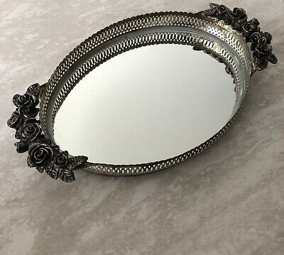 Large Rose Design Makeup Perfume Mirrored Vanity Tray Oval
