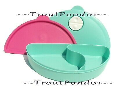 Tupperware CrystalWave Microwave Divided Lunch Dish Mint + Pink Luncheon Plate