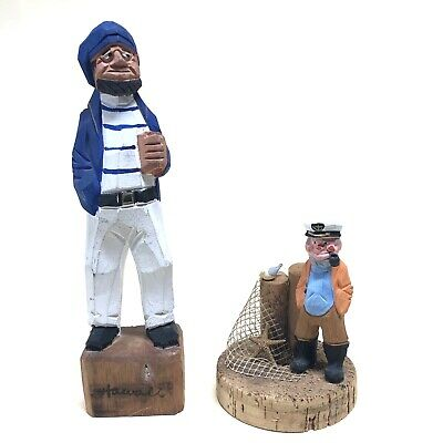 """Genuine Hand Carved Hand Painted Wooden Nautical Sailor Figurines 10"""" And 5"""""""