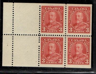 Canada Sc 219a 1935 3c George V booklet pane of 4 mint NH  Free Shipping