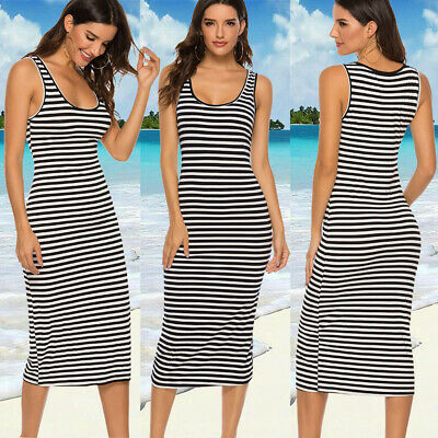 Womens Midi Long Bodycon Summer Vest Dress Stripe Sleeveless Tank Dress W