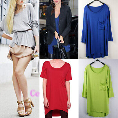 WHOLESALE BULK LOT OF 10 MIXED COLOUR Slouchy Loose Long Top/Mini Dress T108