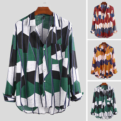Men Vintage Collared Shirts Long Sleeve Button Down Shirt Floral Beach Party Top
