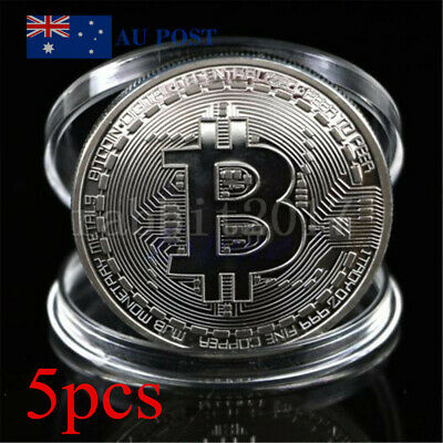 5pcs Bitcoin Silver Plated Physical Collecting Coins With Case Fun Party Gift AU