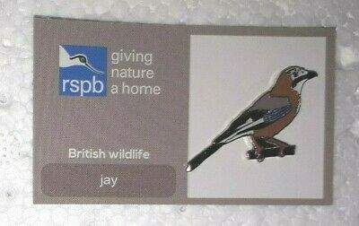 RSPB JAY charity pin badge ticked back COMBINES P+P GNAH