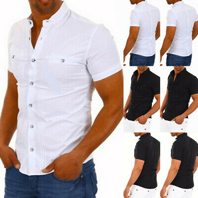 UK New Mens Summer Short Sleeve Shirts Casual Cotton Formal Slim Fit Shirt Tops