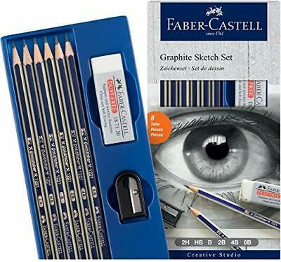 Faber Castell Graphite Sketch Pencil - Pack of 6 Pencils + Sharpener&Eraser