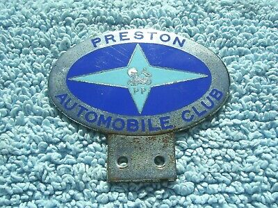VINTAGE 1950s PRESTON AUTOMOBILE CLUB CAR BADGE -OLD LANCASHIRE AUTO EMBLEM RARE