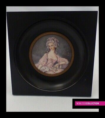 """ANTIQUE FRENCH MINIATURE PAINTING WATERCOLOR 1900s """"Portrait of a quality lady"""""""