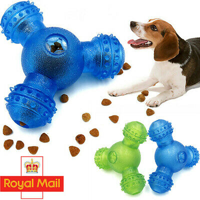 THREE-HOLE Pet Dog Toys Interactive Food Dispenser Feeder IQ Puzzle Treat Ball #