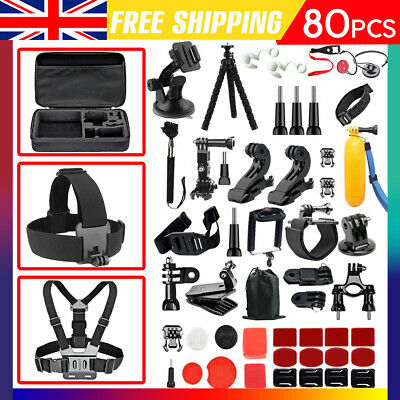 80 PCS For GoPro Hero 7 6 5 Accessories Kit Action Camera Mount Accessory Bundle