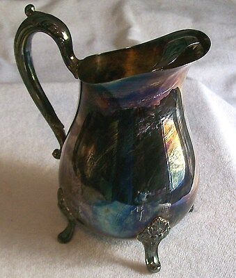 "Vintage ""Pilgrim Silver Co. 9 "" Tall  Water Pitcher Beautiful Rainbow Toning"