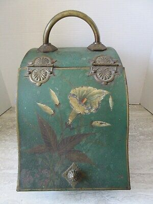 Antique Hand Painted Lily Metal & Brass Coal Scuttle Hod Fireplace Hearth Ware