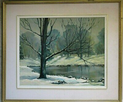 Old Vintage Oil Painting on Board Winter by Stan Barlow Snow River Landscape