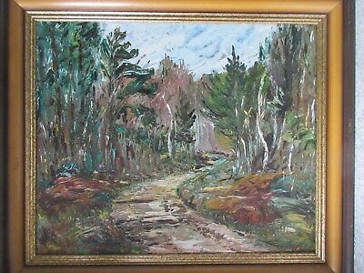 Vintage Oil on Masonite Painting Signed Dora Smith Impressionist Forest Drive