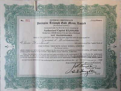 Old 1937 Porcupine Triumph Gold Mines 300 Shares Stock Certificate